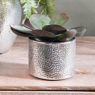 Hammered Effect Silver Planter