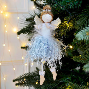 Silver Tulle Fairy Hanging Tree Decoration