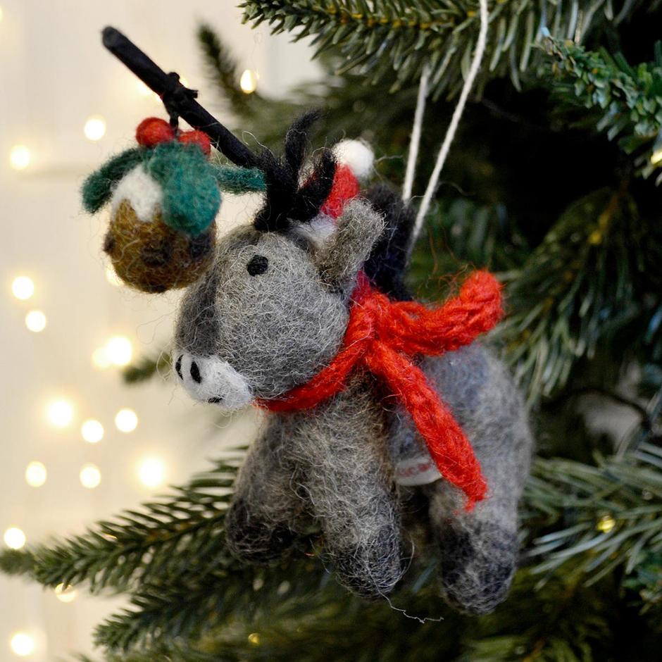 Donkey with Christmas Pudding Decoration