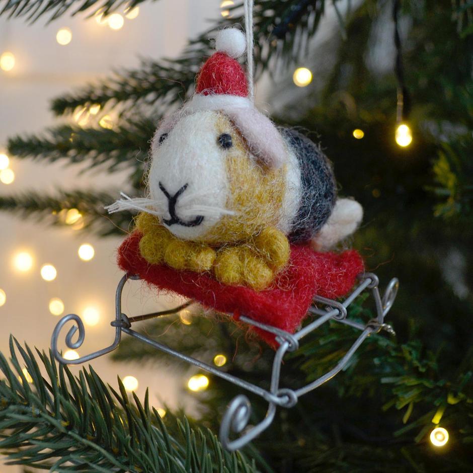 Felt Guinea Pig Living on the Sledge Christmas Decoration