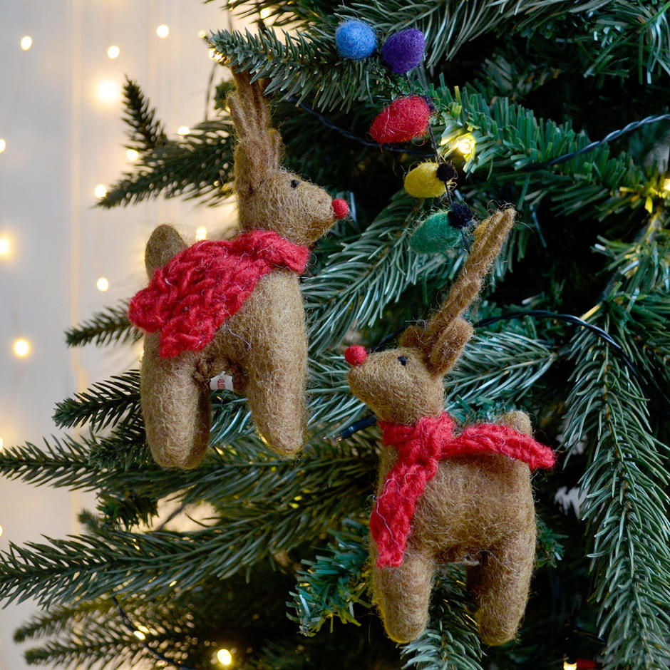 Felt Reindeers with Fairy Lights Christmas Decoration
