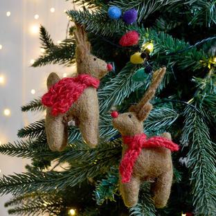 Felt Reindeers with Fairy Lights Christmas Decoration