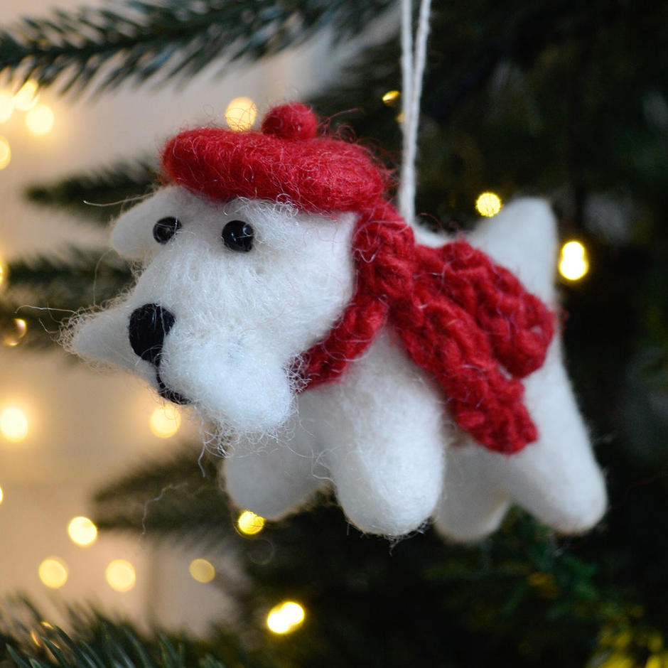 Isla the Winter White Westie Felt Christmas Decoration