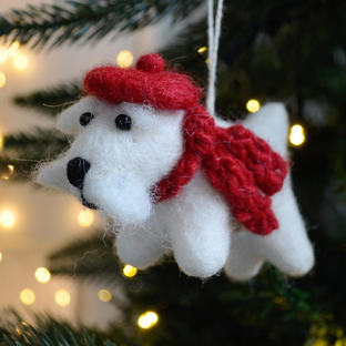 Isle the Winter White Westie Felt Christmas Decoration