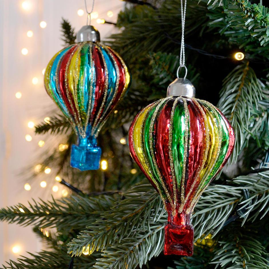 Glass Air Balloon Tree Decoration