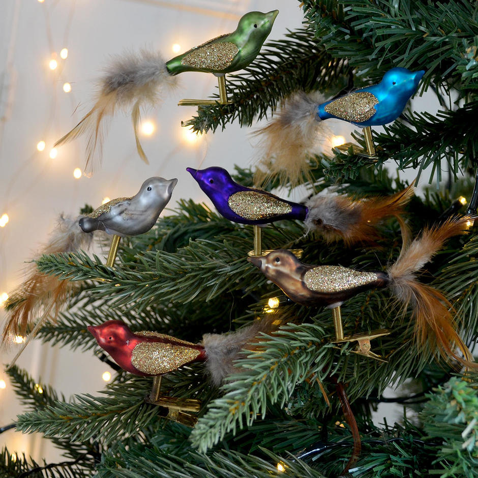 Set of Feather Tailed Glass Pheasant Tree Decorations