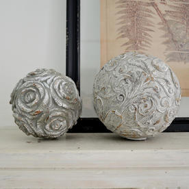 Carved Grey Flower Sphere