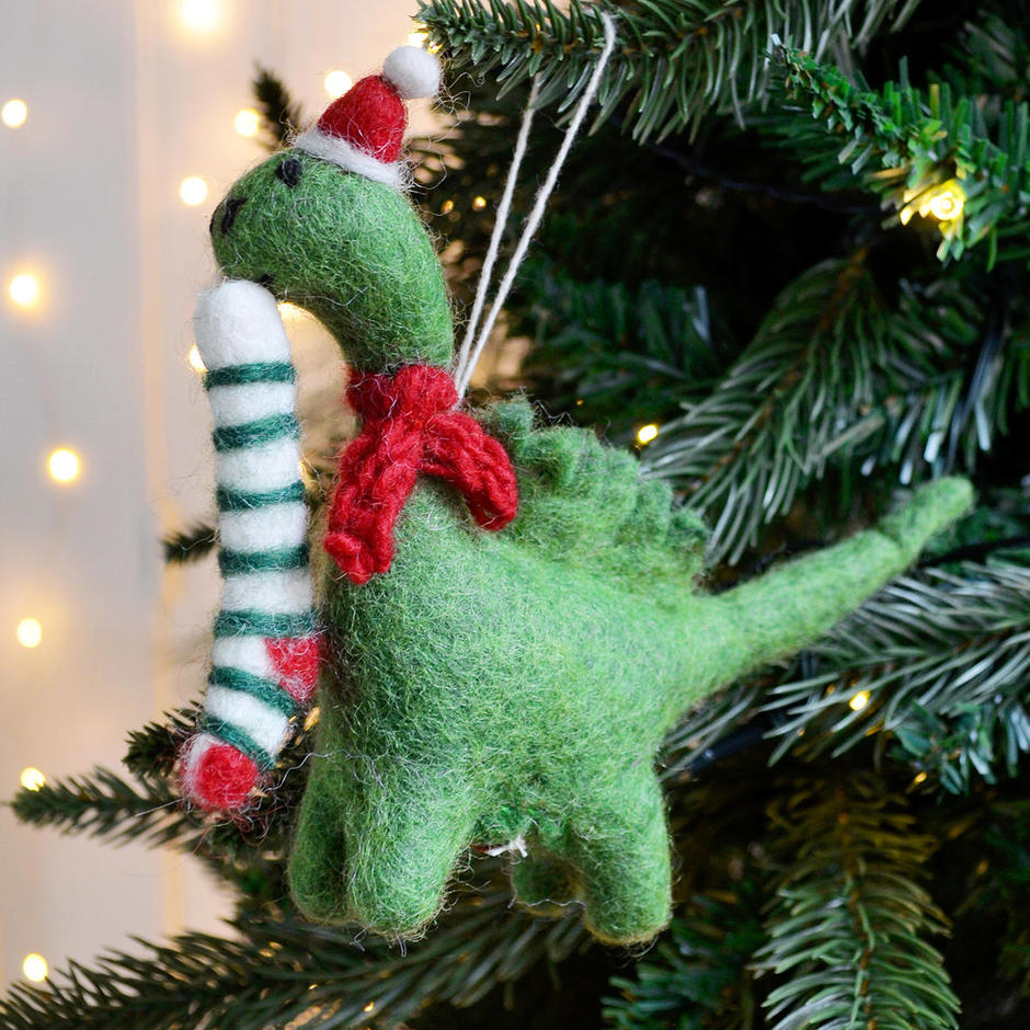 Derek Diplodocus with Stocking Christmas Decoration