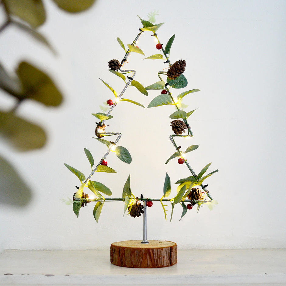 Wire LED Tree with Eucalyptus Decoration