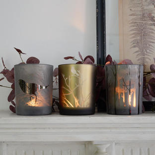 Set of 3 Autumn Glass Votives