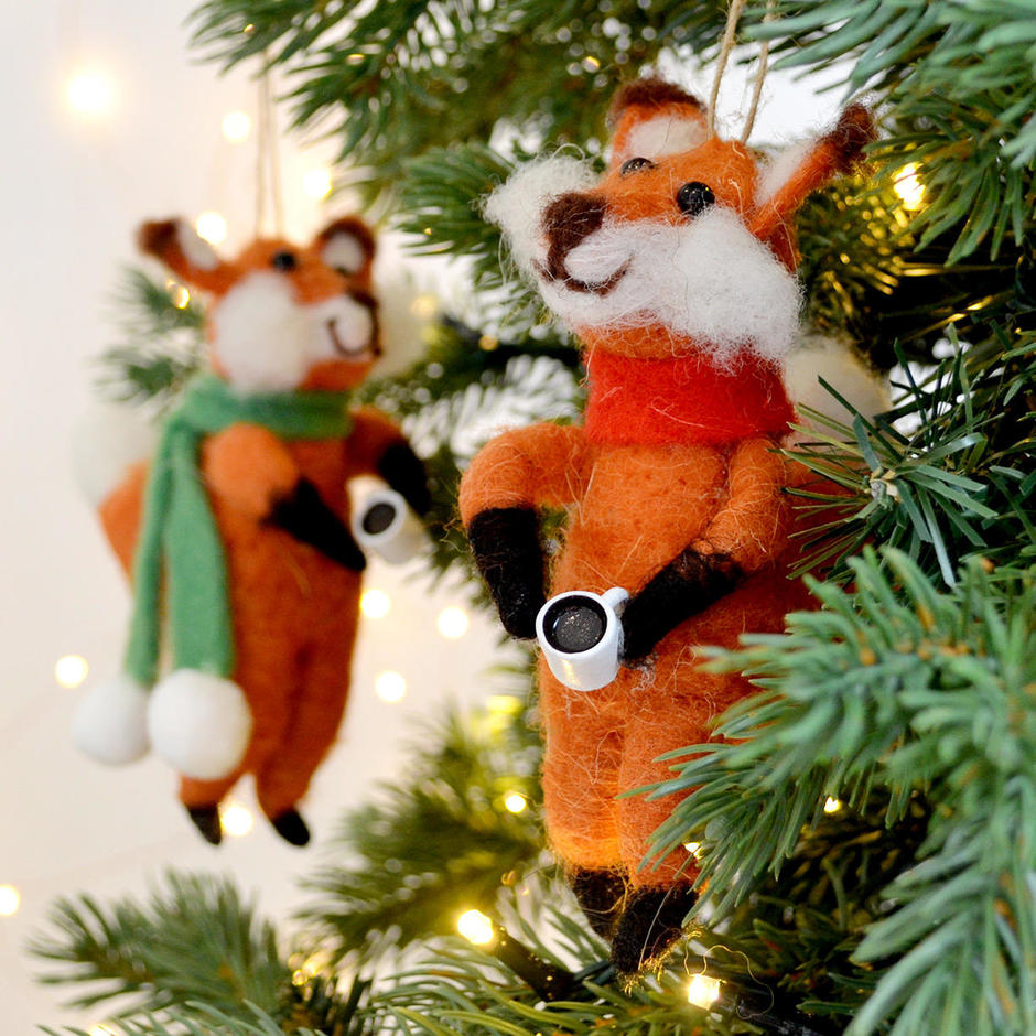 Foxes with Cocoa Mugs
