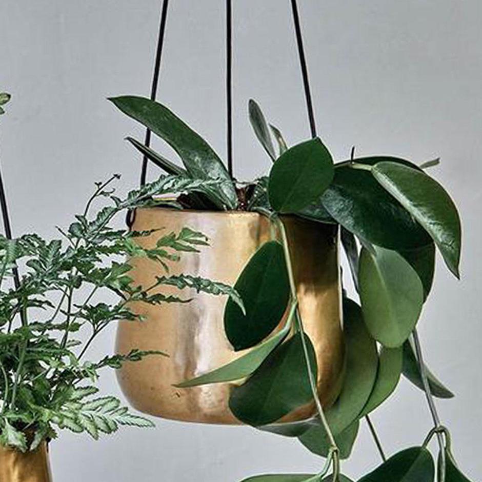 Hanging Antiqued Brass Planter