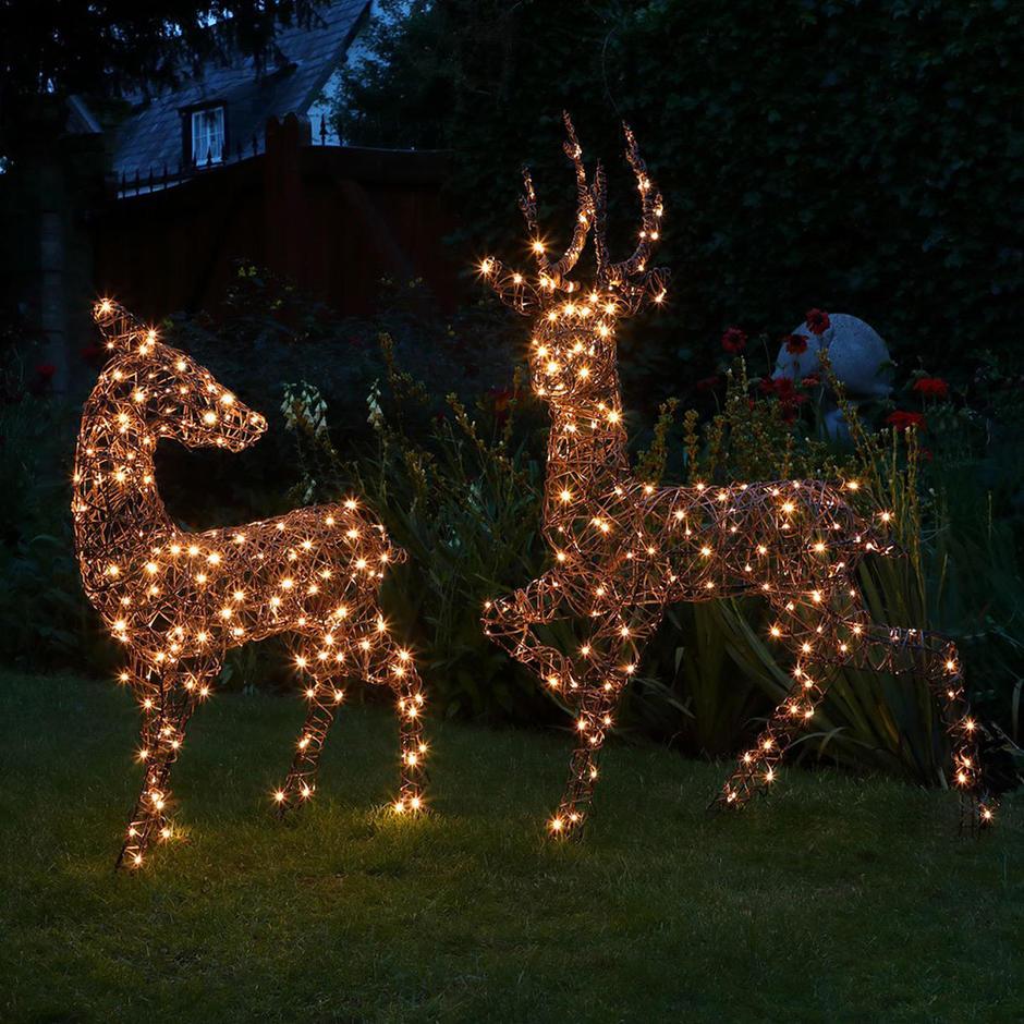 Outdoor Wicker LED Pair of Deer