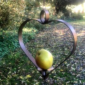 Copper Heart Apple Bird Feeder