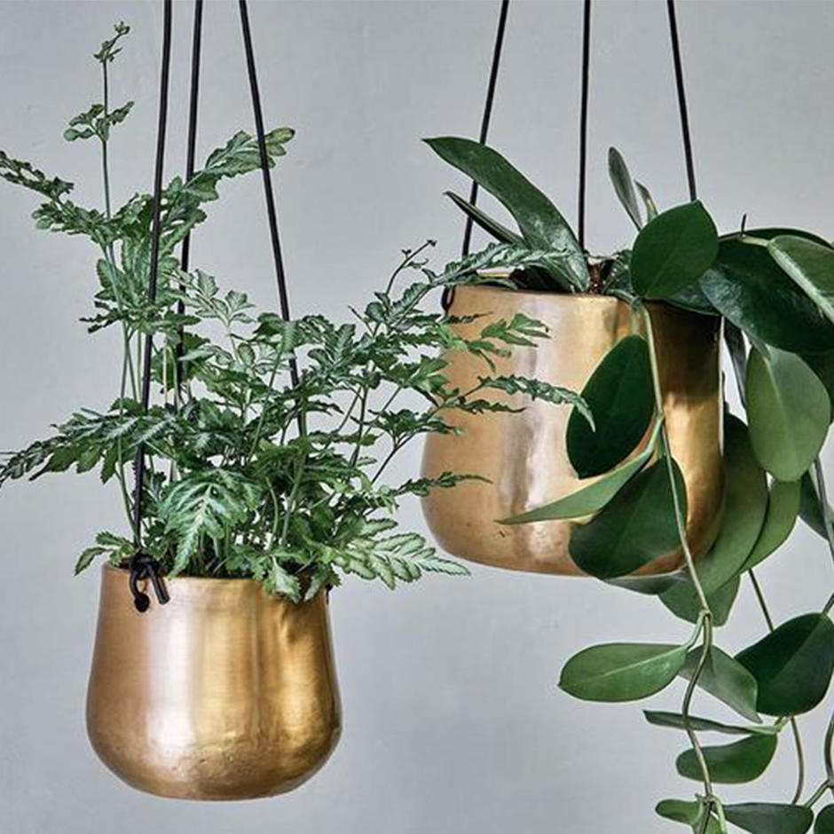 Hanging Antiqued Brass Planters