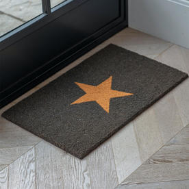 Charcoal Doormat with Single Natural Star