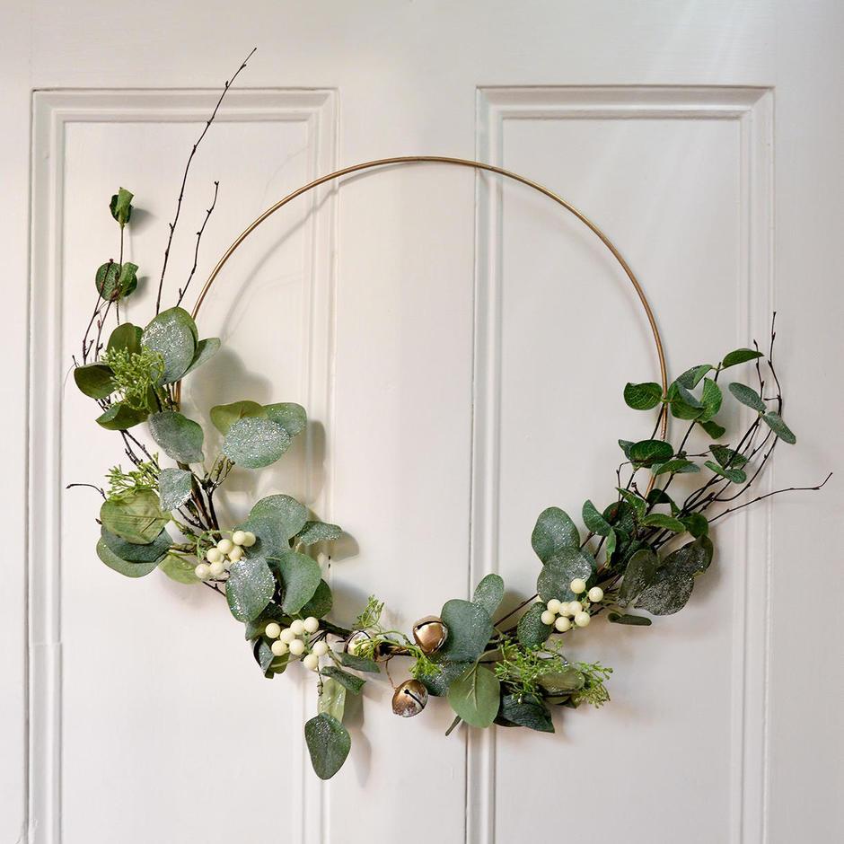 Eucalyptus and Gold Bell Hoop Wreath