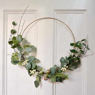 Eucalyptus and Gold Bell Hoop Wreath