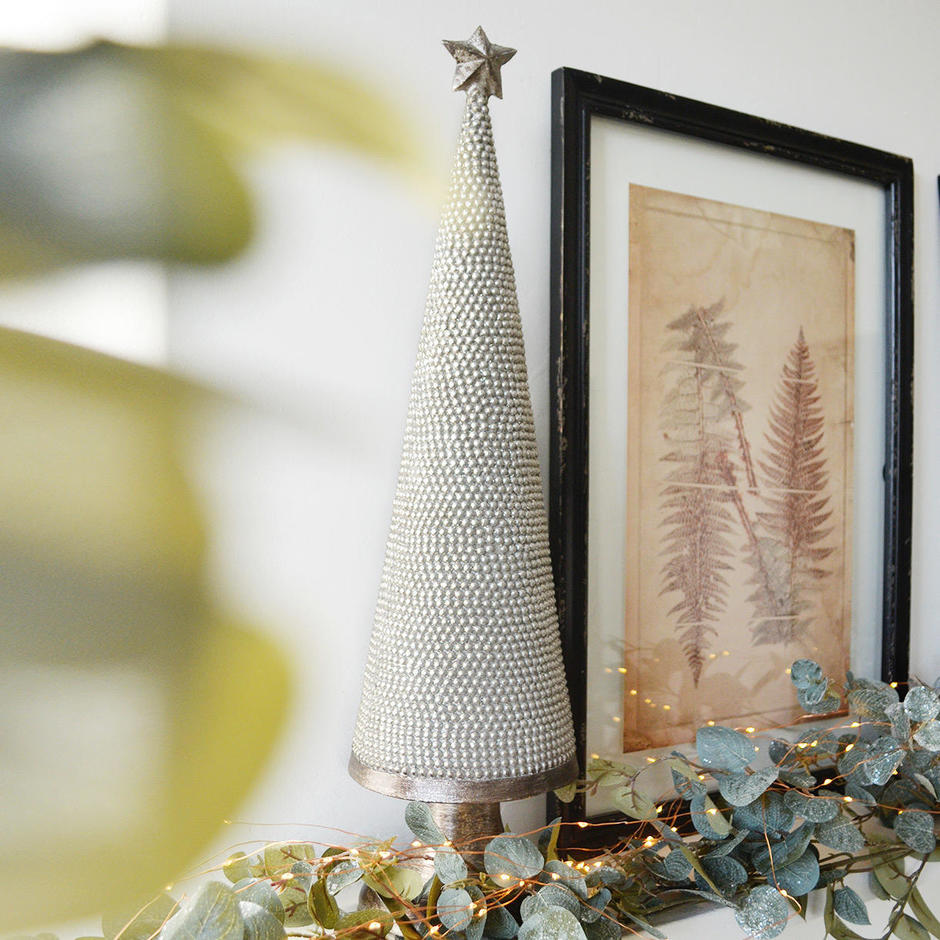 Heavily Beaded Silver Cone Christmas Tree