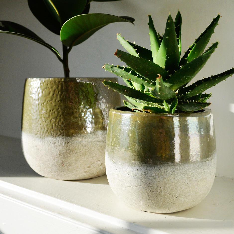 Green Gold Dip Glazed Stoneware Planter