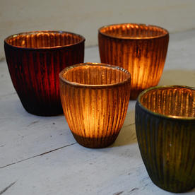 Vintage Ribbed Beaker Votives