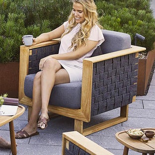 Angle Lounge Chair with Teak Frame