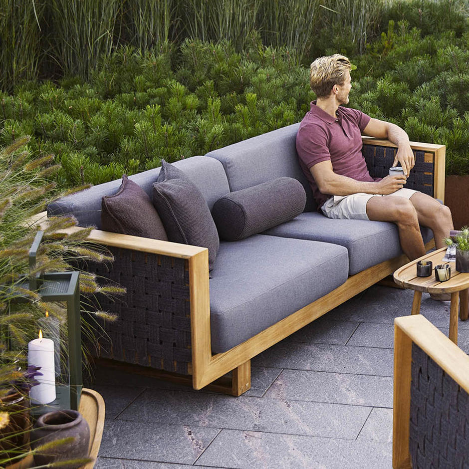 Angle Lounge 3 Seat Sofa with Teak Frame