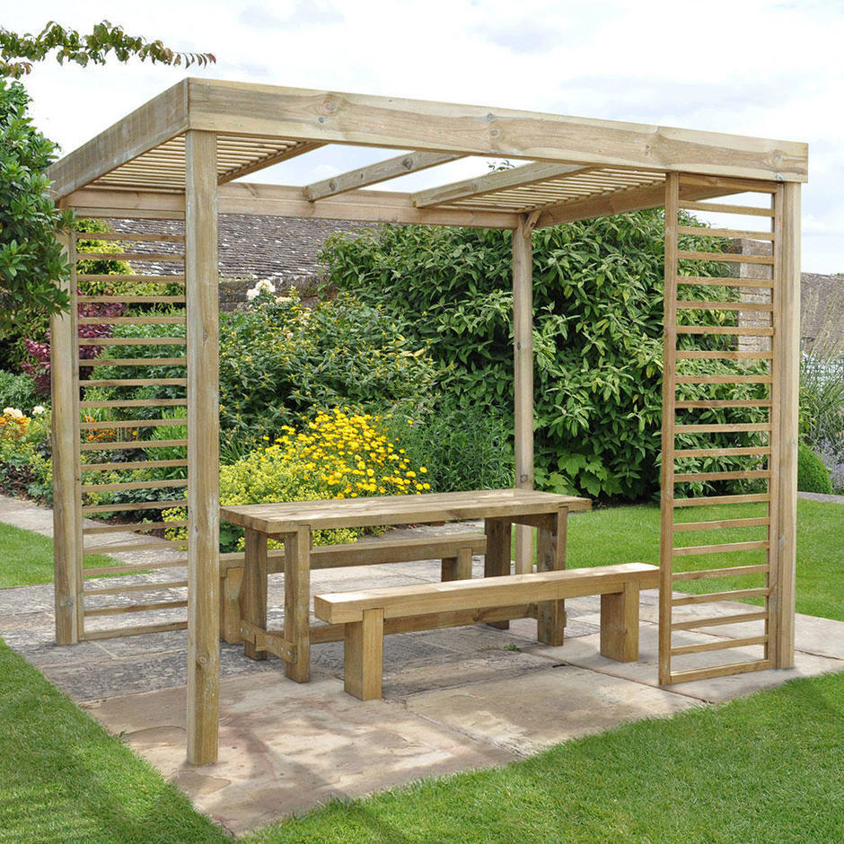 Contemporary Pergola with Slatted Panels