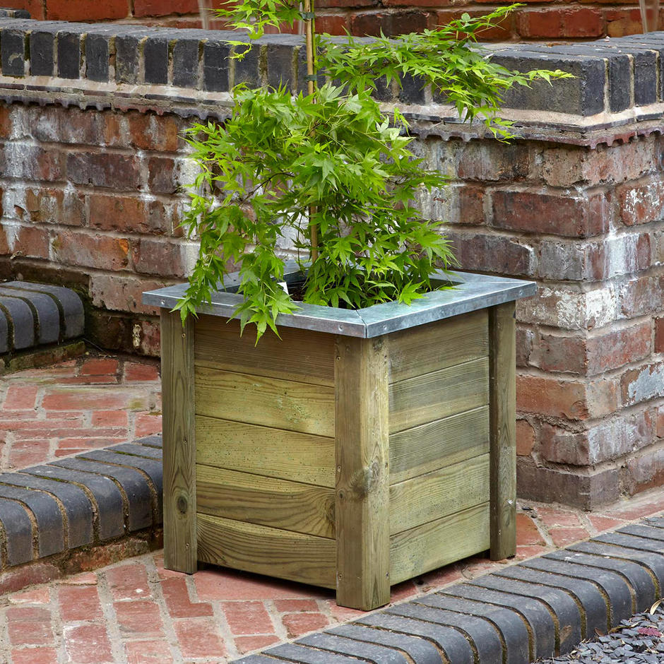 Cambridge Low Square Wooden Planter