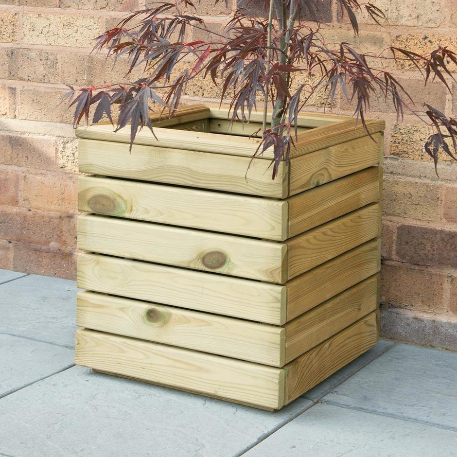Linear Square Wooden Planters