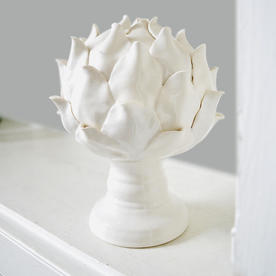 White Ceramic Artichoke Flower on Base