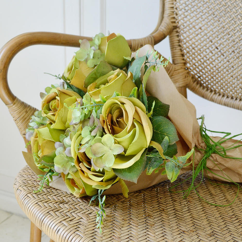 Rose and Hydrangea Green Posy