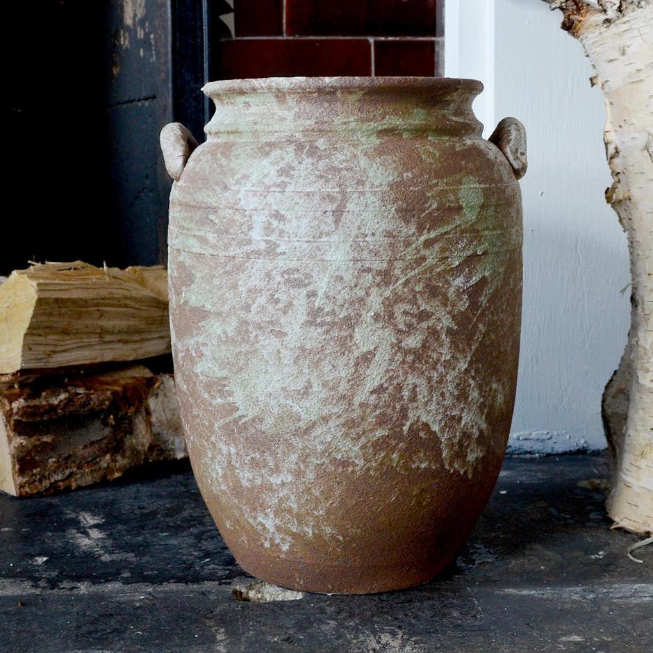 Doubled Handled Aged Olive Jar