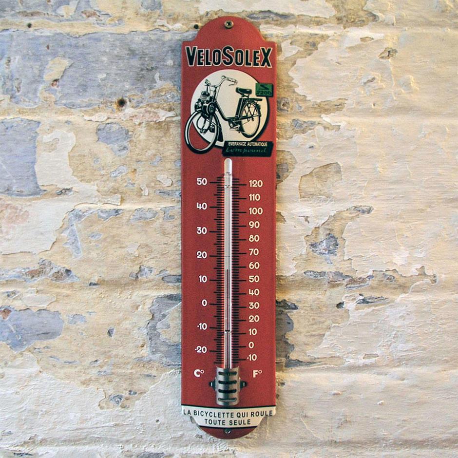 Enamel Outdoor Velosolex Thermometer