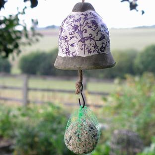 Ceramic Bird Feeding Bell