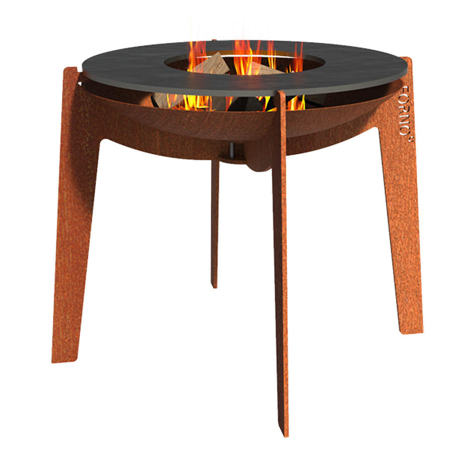 Corten Cooking Fire Bowl on Legs with Cooking Ring