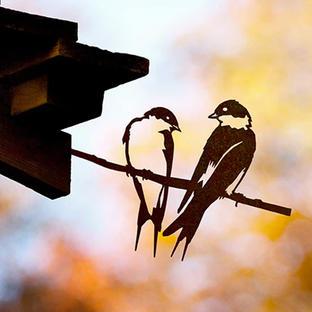 Metalbird Pair of Swallows Silhouette