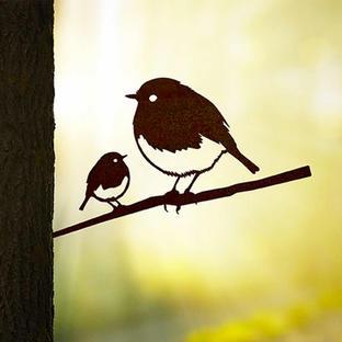Metalbird Robin & Chick Silhouette