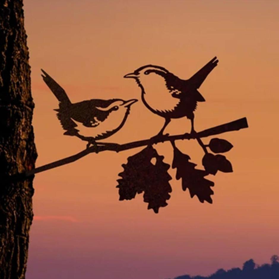 Metalbird Pair of Wrens Silhouette