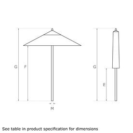 Classic Wood Framed 3.6m Square Parasols