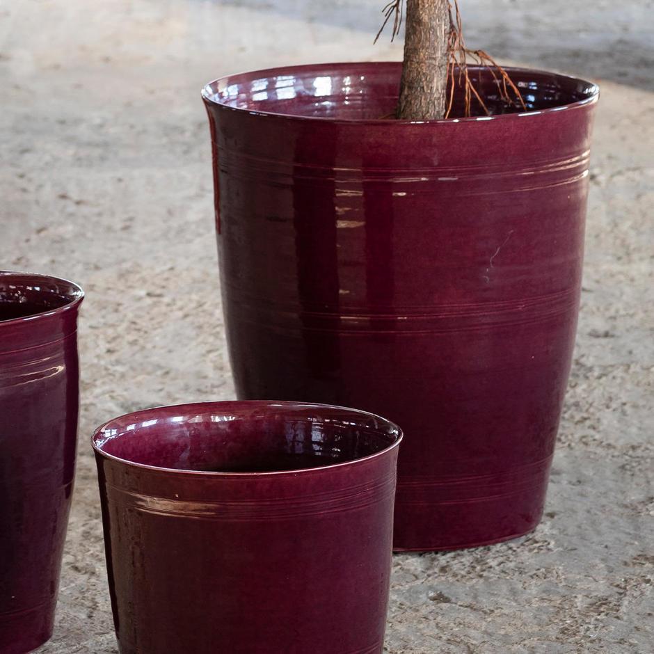 Rich Damson Glazed Indoor Pot