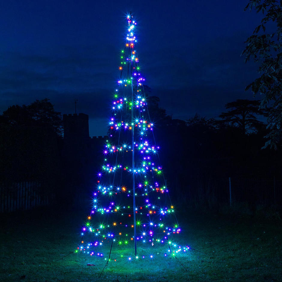 Outdoor Multicoloured Twinkling LED Helter Skelter Christmas Tree