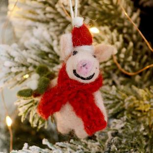 Stanley Piglet with Mistletoe Decoration