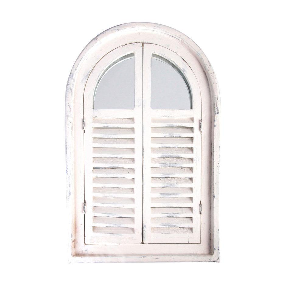 White Shutter Mirror