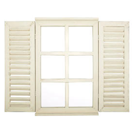 Aged Window Mirror with Shutters