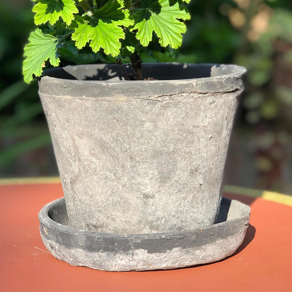 Black Smoked Terracotta Pot and Saucer