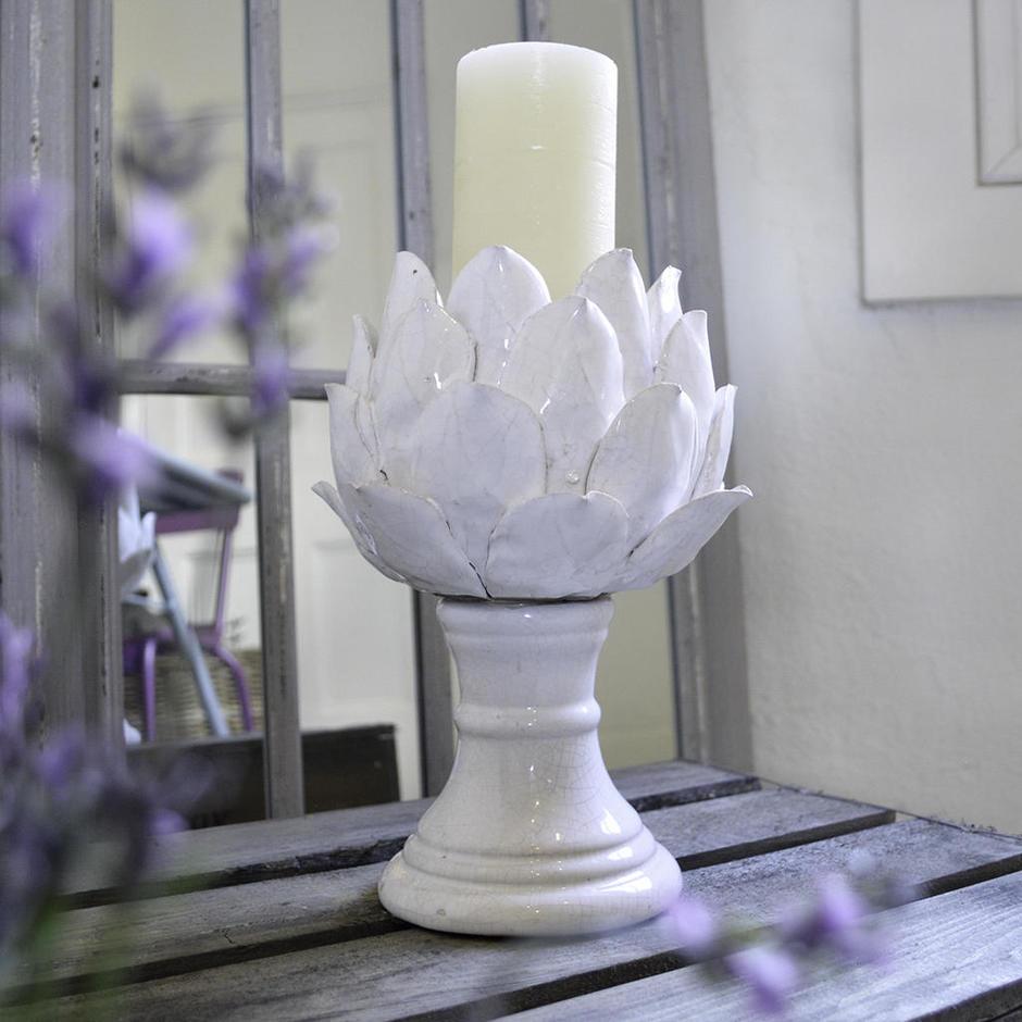 White Artichoke Candleholder
