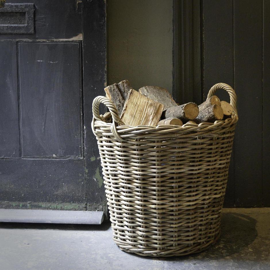 buy rattan log basket the worm that turned. Black Bedroom Furniture Sets. Home Design Ideas