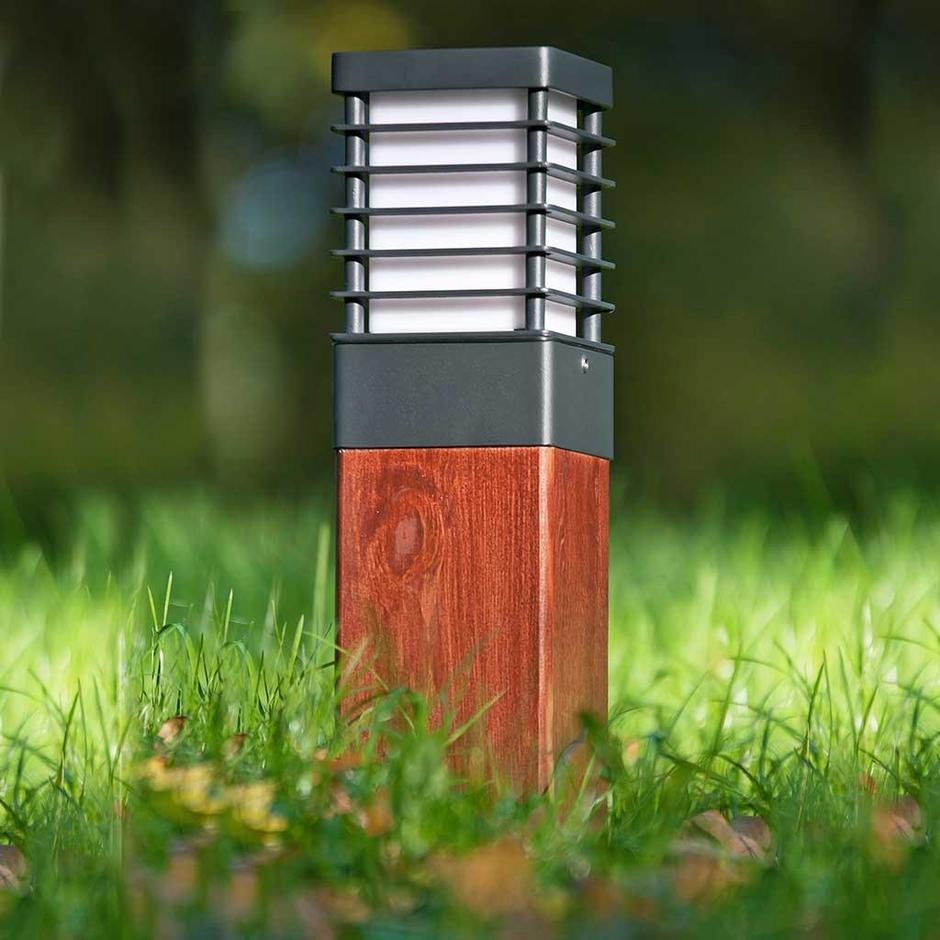Halmstad Wooden Outdoor Bollard Lanterns