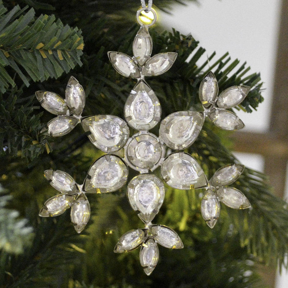 Hanging Glass Jewelled Snowflake